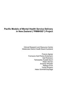 Pacific Models of Mental Health Service Delivery in New Zealand (PMMHSD) Project